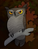 Halloween Great Horned Owl by WonderDookie