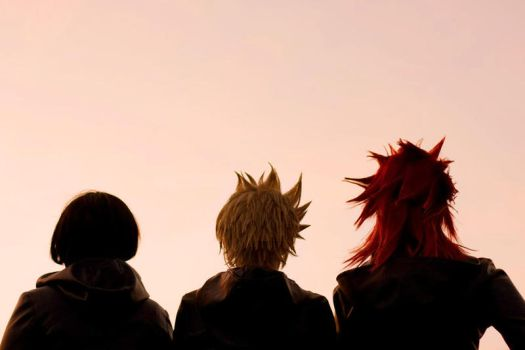 Roxas, Axel, Xion: sunset by chibinis-chan
