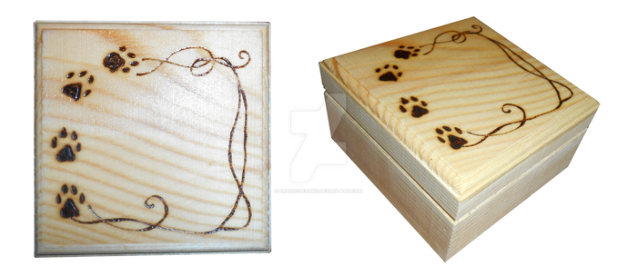 Wood Burned Paw Prints Box by DruidicDesigns