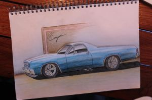 Chevy El Camino Drawing by compaan-art