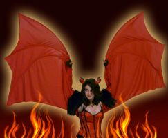 Red Devil Girl Wings by FaeryAzarelle