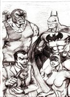 Batman and Catwoman vs. Joker and Bane by MisterHydesSon