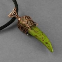Green Magnesite and Copper Necklace by sylva