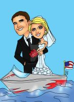 Wedding Boat Gift Caricature Commission by raccoon-eyes