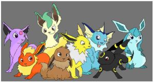 paint: eeveelutions by akases