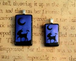 Unicorn Night Mini Fused Glass Pendant by FusedElegance