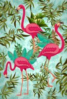 Pink Flamingos Exotic Birds by Bluedarkat