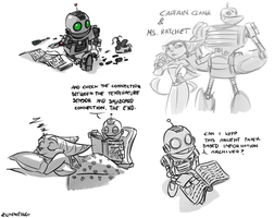 Ratchet and Clank doodles by Zummeng