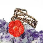 Coral Flower and Copper Ring by sylva