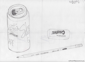 Soda Can, Pencil, And Eraser. by softmist93