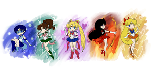 Chibi Inner Senshi by EternalGraveDancer