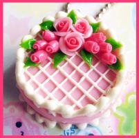 Pink Rose Cake Necklace 2 by cherryboop