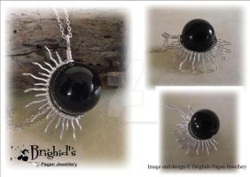 Solar Eclipse Pendant In Onyx by JewelleryByBrighid