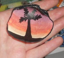 Sunset Palm Tree Shell Pendant by EdgeofFear