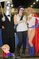 Bender, Leela, and Power Girl by norrit07