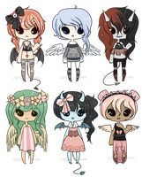 Adopt Set 13 - Angels and Demons - CLOSED by rosie-wosie