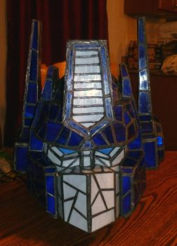 Optimus Prime Stained Glass Helmet Desk Lamp Unlit by mclanesmemories