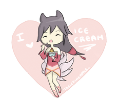 Ahri and her icecream :3 by Ebaroo