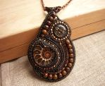 Handmade bead embroidered pendant with ammonite by nikkichou