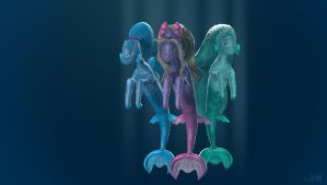 Aglaope, Radne and Piscis Zbrush by jotakaanimation