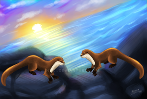 Otters by PHkins