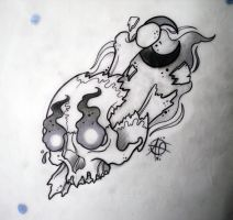 Flaming Skull by Frosttattoo