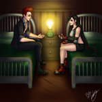 Tifa and Johnny catch up in Costa del Sol by Ariake-chan