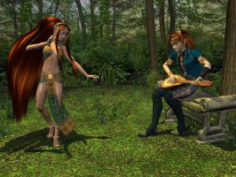 Iolo and Sera - Bard + Dancer by WickedPrince