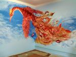 Firebird on the wall of a kindergarten. Acrylic by Romashik-arts
