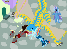 Tigrex showdown in ponyville by Meteorimpact