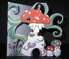 Hand-made card: the mushroom house by Lorellyne