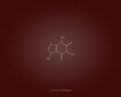 Caffeine Molecule Denim Wallpaper in Red by averywebdesign