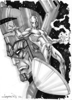 Silver Surfer and Galactus by aaronlopresti