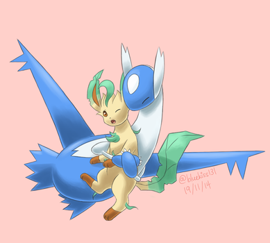 Commission: Latios and Leafeon by BluuKiss