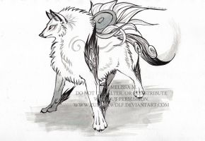 Amaterasu ink drawing by ZulayaWolf
