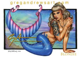 BLONDIE Fantasy Mermaid Pinup Art Greg Andrews Art by badass-artist