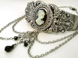 Black Cameo Silver Choker by LeBoudoirNoir