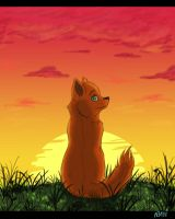 doggy and sunset by Lilion-Bayl