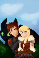 Hiccup and Astrid by Tetra-Zelda