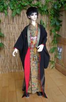 BJD kimono, Black Formal Furisode with Phoenix by InarisansCrafts
