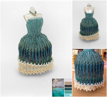Mystical Ocean Ball Gown Miniature Bead Dress by pinkythepink