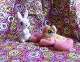 Fluttershy 3 and Angel bunny needle felted plush by imaginaryfriends2012