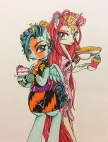 Ponyfied Kimber and Stormer food fight WIP by Morgwaine