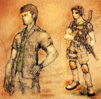 Chris Redfield sketches by Beidenrivalen