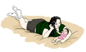 Young woman and baby by Nubia06