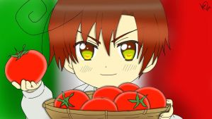 Chibi Romano and his tomatoes! by LucyXxNyuu13