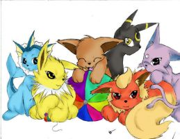 Eevee Evolutions by pastelxtentacles