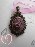Take a bite of the apple. OOAK cameo pendant by ilikeshiniesfakery