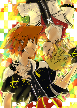 Sora and Roxas by andyrossykes