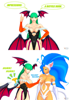 Morrigan Does an Impression by NekoHybrid